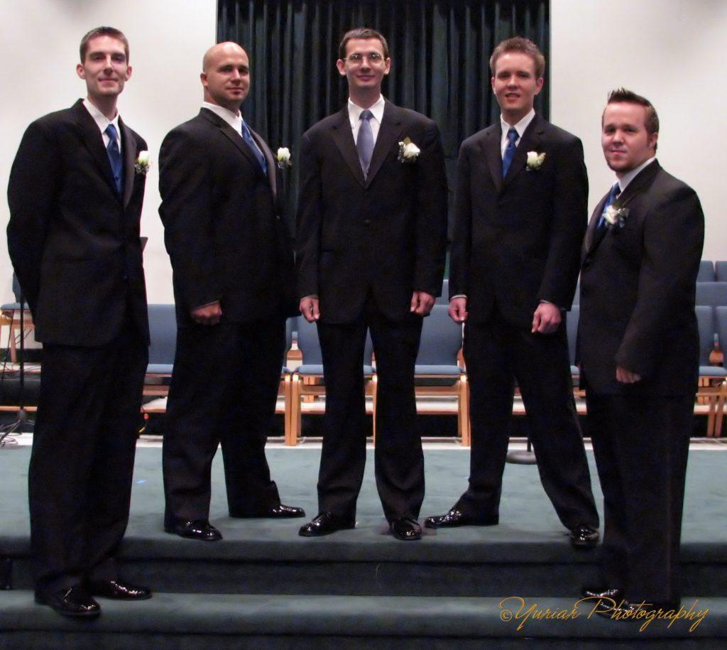 Scott (aka TallMan), BigA, NinjaP (the Groom), E, & Mike. .
